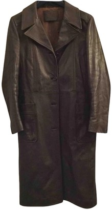 Prada Brown Leather Trench Coat for Women Vintage