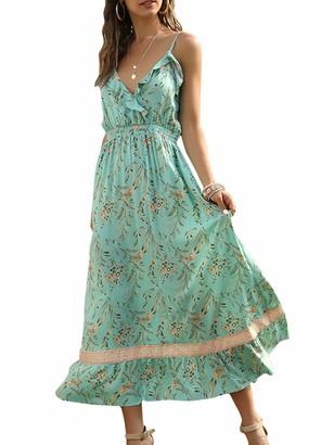 Romacci Women Boho Dress Floral Print Deep V Neck Spaghetti Strap Sleeveless High Waist Backless Ruffle Maxi Beach One-Piece Green