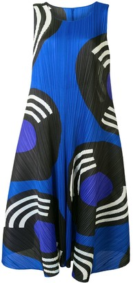 Pleats Please Issey Miyake Record Print Plisse Dress