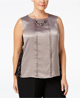 Kasper Plus Size Pebble Charmeuse Pleated Shell