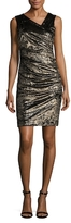 Nicole Miller Ruched Asymmetrical V-Neck Sheath Dress