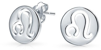Bling Jewelry.925 Silver Leo Zodiac Sign Round Disc Stud Earrings