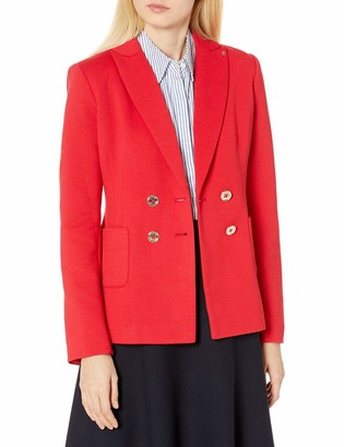 Tommy Hilfiger Women's Pique Knit Double Breasted Blazer with Peak Lapel Collar