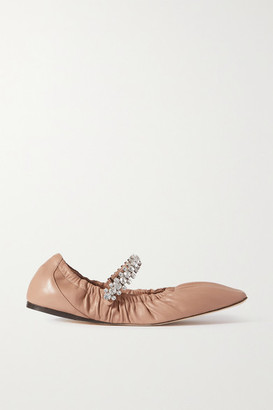 Jimmy Choo Gai Crystal-embellished Glossed-leather Ballet Flats - Neutral