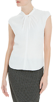 Max Studio Cap Sleeve Twist Front Top, Cream