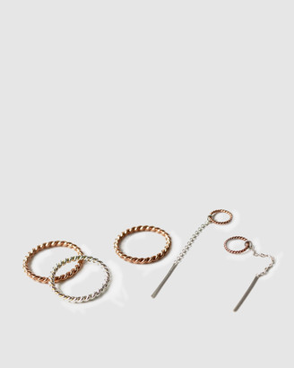 Ca Jewellery Mixed Metals Ring and Earring Set