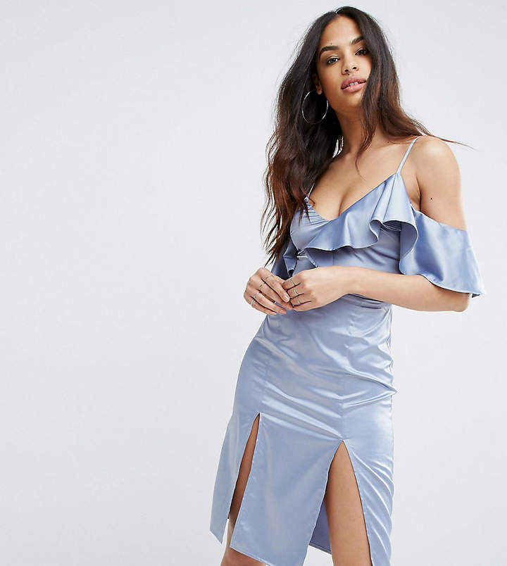 Rare London Frill Detail Dress With Double Thigh Split