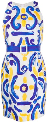 Moschino Majolica-print Cady dress