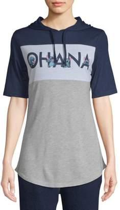 Licensed Juniors' Ohana Stitch Varsity Hooded Graphic T-Shirt