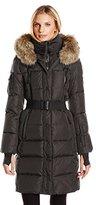 SAM. Women's Infinity Down Coat with Fur Trim Hood and Belt