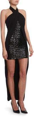 Balmain Sequined Crepe Halter-Neck High-Low Dress