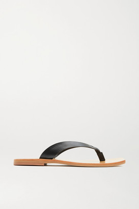 ST. AGNI Net Sustain Basik Leather Flip Flops - Black