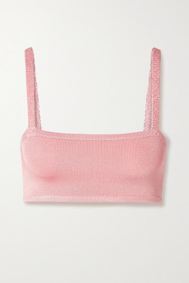 Calle Del Mar Cropped Stretch-knit Bra Top - Baby pink