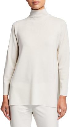 Eileen Fisher Scrunch-Neck High-Low Wool Tunic Sweater