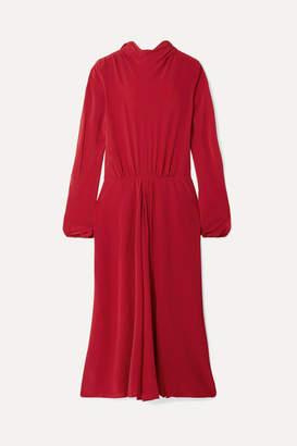 Prada Pleated Silk Crepe De Chine Midi Dress - Red