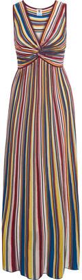 M Missoni Twist-front Striped Crochet-knit Maxi Dress