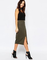New Look Ribbed Zip Pencil Skirt