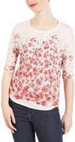 Red Floral Three-Quarter Sleeve Top