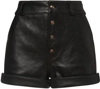 Etro High Waist Leather Shorts W/ Cuffs