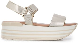 Hogan Metallic Platform Sandals