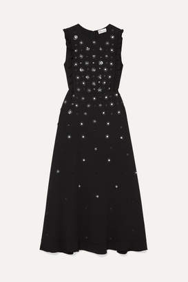 RED Valentino Embellished Ruffled Crepe Midi Dress - Black