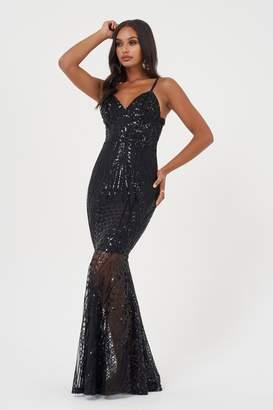 Club L Womens **Black Sequin Fishtail Maxi Dress By Black