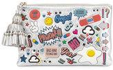 Anya Hindmarch Georgiana All Over Wink Sticker Clutch Bag, Silver