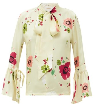 La DoubleJ Happy Wrist Bell-sleeve Floral-print Silk Blouse - White Multi