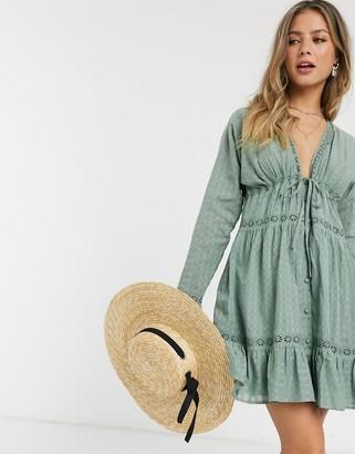 ASOS DESIGN lace insert button through mini smock dress in khaki