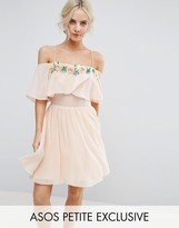 Asos Embellished Neckline Double Layer Skater Dress