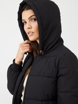 Very Short Rib Panel Padded Jacket With Hood - Black