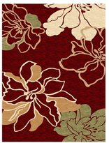 Linon Milan Collection Red/ Ivory Area Rug (8' x 10'3)