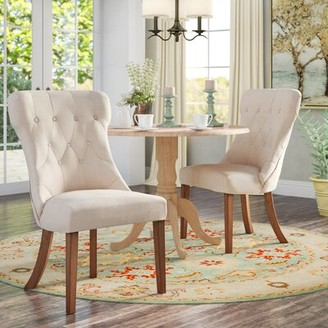 Three Posts Irving Place Upholstered Dining Chair Upholstery Color: Heathered Beige Linen