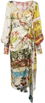 Oscar de la Renta Wrap-Style Floral Print Dress
