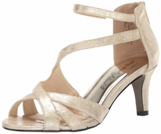 Easy Street Shoes Women's Brilliant Heeled Dress Sandal with Back Zipper Pump Gold Metallic 8.5 M US