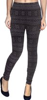 Simplicity Junior's Juniors Knitted Leggings Tights Snowflake & Deer Print Charcoal