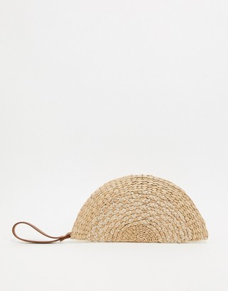 Asos DESIGN natural straw half moon clutch bag with wristlet strap