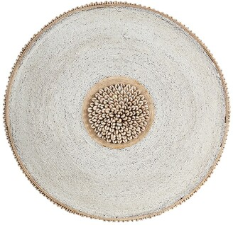 Willow Row Large Round Hand-Carved Baobab Wood - Cowrie Shell & White Beaded Shield