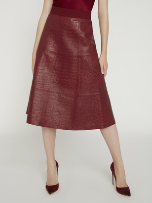 Alice + Olivia Sosie Croc Leather Midi Skirt