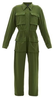 Norma Kamali Patch-pocket Zipped Jersey Jumpsuit - Womens - Khaki