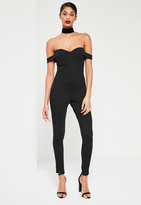 Missguided Black Bardot Strap Romper