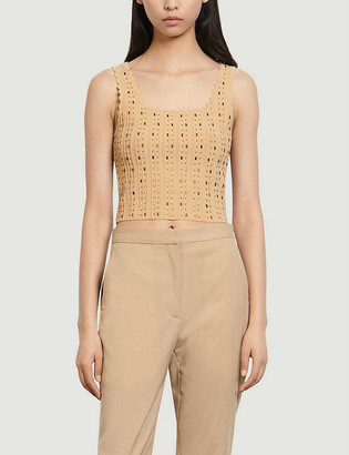Sandro Bead-embellished crop stretch-knit top