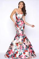 Mac Duggal Floral Print Mermaid Prom Dress 79095M