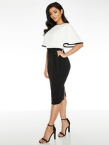 Quiz Flute Sleeve Midi Dress - Cream/Black