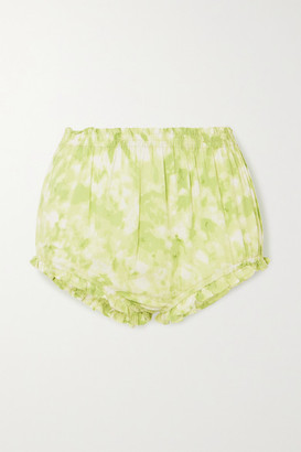Faithfull The Brand Pampelonne Ruched Tie-dyed Voile Shorts - Green