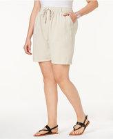 Karen Scott Plus Size Lisa Drawstring Cotton Shorts, Only at Macy's