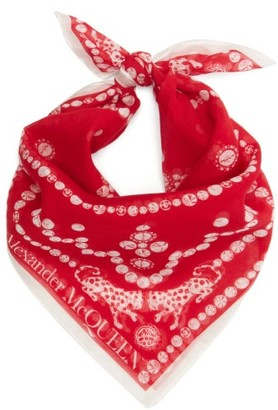 Alexander McQueen Logo-print Cotton-blend Bandana Scarf - Red White