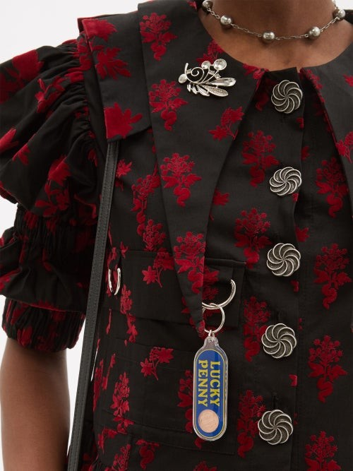 Thumbnail for your product : Chopova Lowena Puff-sleeve Flocked-floral Organic-cotton Dress - Black Red