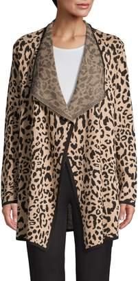 Jones New York Leopard-Print Open Front Cardigan