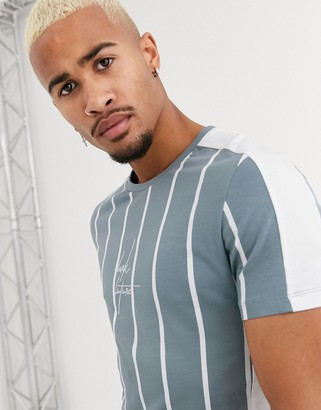Asos Design DESIGN x Dark Future skinny vertical stripe t-shirt with color block panels and Dark Future logo embroidery